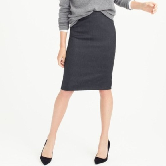J.Crew Dark Grey Super 120's Wool  Pencil Skirt 12